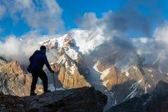 Alpine Climber Reached Summit Stock Photo