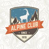 Alpine club patch. Vector. Concept for shirt or badge, print, stamp or tee. Vintage typography design with rock climbing stock illustration