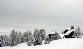 Alpine cottages stock image