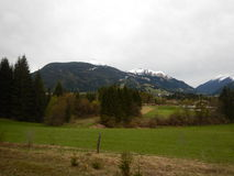Alpine countryside landscape in bad weather royalty free stock photo