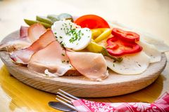 Bread dishes with bacon, cheese and sausage Royalty Free Stock Photos