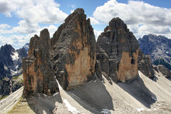 Alpine dolomiti - Tre Cime mountain Stock Photo