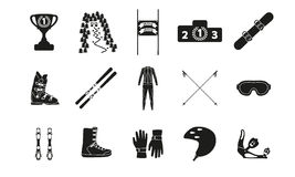 Alpine downhill slalom. Silhouette icon set of equipment, wear and shoes. Vector illustration Stock Photo