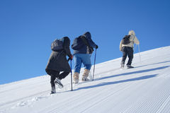Alpine expedition. Going towards the summit Stock Photo