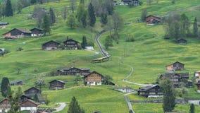 Alpine express rushing through scenic valley in Switzerland Royalty Free Stock Photos