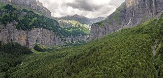 The alpine forest region Sixt-Fer-à-Cheval in southeastern France. NIt is located at the end of the Giffre river Valley in the Haute-Savoie royalty free stock photos