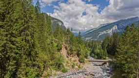 The alpine forest region Sixt-Fer-Cheval in southeastern France.  royalty free stock image