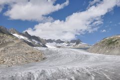 Alpine Furka. View of Rhone glacier from Furka pass Royalty Free Stock Image
