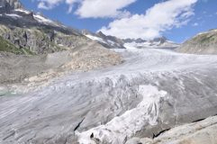 Alpine Furka 2. View of Rhone glacier from Furka pass Stock Photo