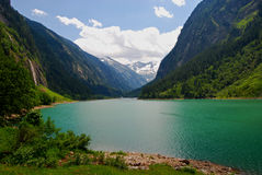 Alpine Glacial Lake. View of a glacial lake in an alpine region - Austria Royalty Free Stock Images