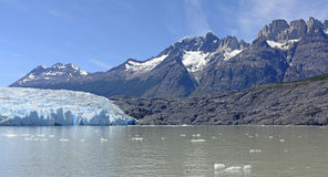 Alpine Glacier and its Surrounding Mountains Stock Images