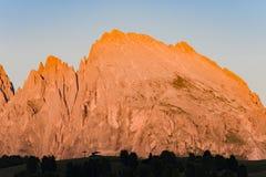 Alpine glow, Dolomites, Langkofel Group, Italy Stock Photos