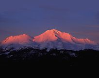 Alpine glow sunset on Mt Shasta royalty free stock photo