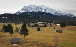 Alpine grassland with Karwendel Mountains, Alps, Germany Royalty Free Stock Images