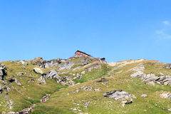 Alpine Hütte Badener Hutte auf Berg, Alpen Hohe Tauern, Österreich Stockfotos