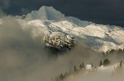 Alpine Hütteansicht Stockfoto