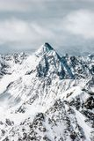 The Alpine highlands. Snow-capped mountain peaks. Beautiful scenery. Holidays on the nature stock photo