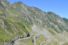Alpine highway Transfagarasan in Romania. Landscape in Fagaras mountains, with Transfagarasan - the most famous road in Romania Stock Image