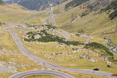Alpine highway Transfagarasan in Romania. Landscape in Fagaras mountains, with Transfagarasan - the most famous road in Romania Royalty Free Stock Image