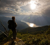 Alpine Hiker Royalty Free Stock Photography