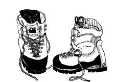 Alpine hiking boots. Drawing  vector Stock Images