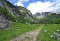 Alpine Hiking Trail. Rugged hiking trail in obersee, Berchtesgaden, Germany Royalty Free Stock Photos