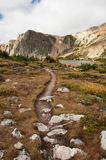 Alpine Hiking Trail. A high mountain hiking trail winds through the Medicine Bow Mountains of southern Wyoming beneath a gray early autumn sky Royalty Free Stock Image