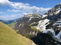 Alpine hill Alp Sigel in the Alpstein mountain range and in the Appenzellerland region. Canton of Appenzell Innerrhoden AI, Switzerland royalty free stock images