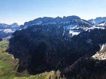 Alpine hill Alp Sigel in the Alpstein mountain range and in the Appenzellerland region. Canton of Appenzell Innerrhoden AI, Switzerland royalty free stock photography