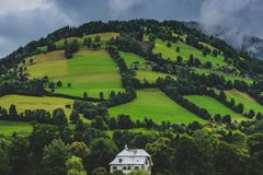 Zell am See Mountainside Homes Stock Photography