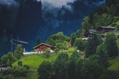 Zell am See Mountainside Homes Royalty Free Stock Photography