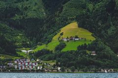 Zell am See Mountainside Homes Stock Photos