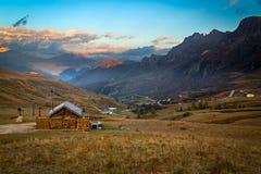 Alpine hot in Alps, Dolomites, Passo Pordoi, Italy Stock Photos