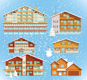 Alpine hotels & houses (christmas) Stock Photos