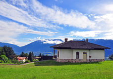 Alpine house in Dolomites Stock Photography
