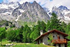 Alpine house. Near Montblanc, Italy Royalty Free Stock Image