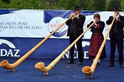 Alpine Hupen-Festival Stockfoto