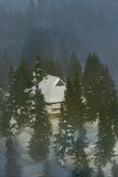 Alpine hut. Alpine cottage with trees and fog Royalty Free Stock Photography