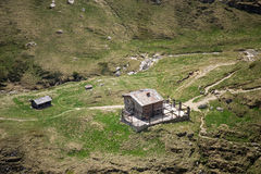Alpine hut - aerial view Stock Images