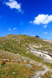 Alpine hut Badener Hutte, mountain Kristallwand and rapid stream, Hohe Tauern Alps, Austria Stock Images