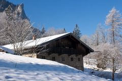 Alpine hut in the bavarian alps Stock Photography
