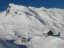 Alpine hut covered with fresh snow Stock Photography
