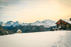 Alpine hut covered by the snow Stock Photography
