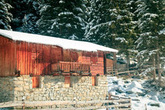Alpine hut covered by the snow Royalty Free Stock Image