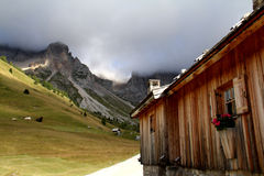 Alpine hut at Fuciade Stock Image