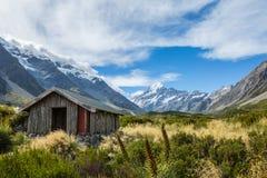 Alpine hut on Hooker Valley Track Stock Images