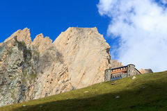 Alpine hut Sajathutte and mountain Rote Saule in the Alps, Austria Royalty Free Stock Photo