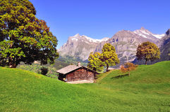 Alpine hut in Switzerland Stock Photos