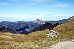 An alpine hut in the Tannheim Mountains in Tyrol Royalty Free Stock Photography