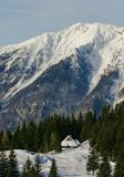 Alpine hut view. Alpine cottages with trees in bacgroung mountain peak Stock Photos